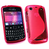 Kit Me Out UK TPU Gel Case + Screen Protector with MicroFibre Cleaning Cloth for BlackBerry Curve 9350 / 9360 / 9370 3G - Hot Pink S Wave Pattern