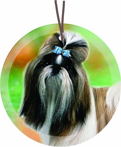 Rikki Knight Shi Tzu Dog Glass Round Christmas Tree Ornament Suncatcher