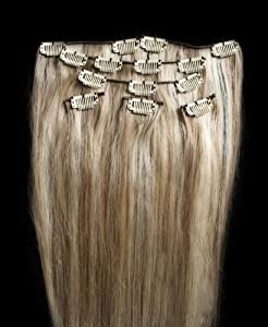"""Full Head 24"""" 100% Highlighted REMY Human Hair Extensions 7Pcs Clip in #18/613 Mixed Blonde"""