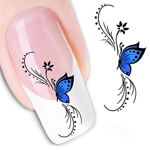 XILALU Fashion Woman 3D Design Butterfly Decals Nail Art Stickers Tips To Decoration (Blue)