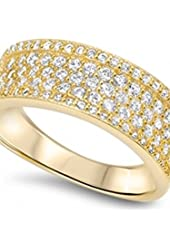 Toni's Gold 5 Row Cubic Zirconia Eternity Ring