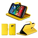 GMYLE(TM) Yellow Magnetic Crazy Horse Pattern Wallet Flip PU Folio Leather Cover Case Stand for Google Motorola Moto X Phone 2013
