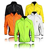 WOLFBIKE Cycling Jacket Jersey Sportswear Running Biking Jacket Long Sleeve Wind Coat Breathable Quick Dry, Available 5 Colors - Black White Green Orange Yellow. Please Choose Your Size according to Your Chest Measurement in Inch