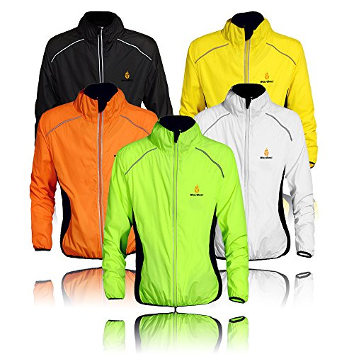 WOLFBIKE Cycling Jacket Jersey Sportswear Running Biking Jacket Long Sleeve Wind Coat Breathable Quick Dry, Available 5 Colors - Black White Green Orange Yellow.