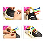 Homeout 1 Set(12pcs) No Tie Silicon Shoelaces - Colorful (Black, 12pcs/Kids)