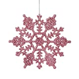 Club Pack of 24 Bubblegum Pink Glitter Snowflake Christmas Ornaments