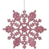 "Club Pack of 24 Bubblegum Pink Glitter Snowflake Christmas Ornaments 4"""
