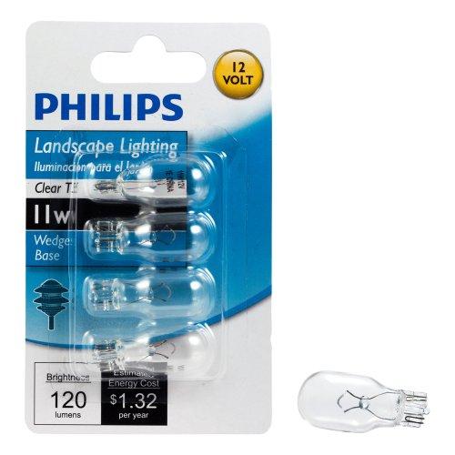 Philips 415828 Landscape Lighting 11-Watt T5 12-Volt Wedge Base Light Bulb, 4-Pack
