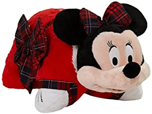 "Pillow Pets Authentic Disney 18"" Winter Minnie Mouse, Folding Plush Pillow- Large"