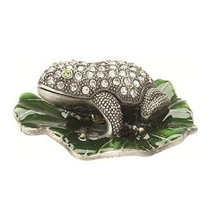 Lisbeth Dahl Frog on a Leaf Jewelry Box with Filigree