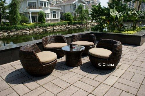 Patio Sets Clearance Genuine Ohana Patio Wicker Sofa Furniture 5pc All Weather Lounge Set Promo