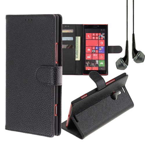 Pu Leather Folio Wallet Flip Stand Case Cover For Nokia Lumia 1520 (Black) + Black Vangoddy Headset With Mic