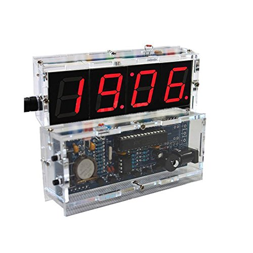 DIY Electronic 4 Digit Large Screen LED Clock Kit Temperature Display Red inventor Learning Electronic Kit Toy UI13 (Electric Robot Kit compare prices)