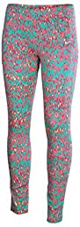 Nike Big Girls\' (7-16) Leg A See Allover Printed Tights-Electro Orange/Purple-Medium