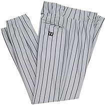 Wilson Adult Poly Warp Knit Woven Pinstripe Baseball Pant, Grey with Black Pinstripes, Large