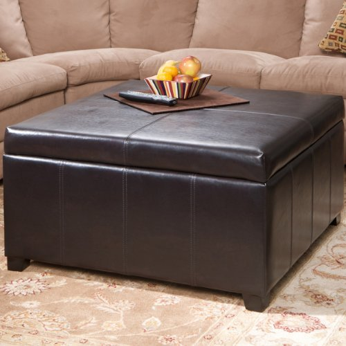 Berkeley Brown Leather Square Storage Ottoman (Square Coffee Table Storage compare prices)