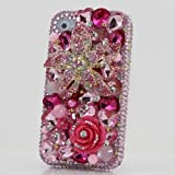 3D Swarovski Pink Flower Crystal Bling Case Cover for iphone 4 / 4S AT&T Verizon & Sprint