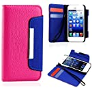myLife (TM) Hot Pink and Royal Blue Business Design - Textured Koskin Faux Leather (Card and ID Holder + Magnetic Detachable Closing) Slim Wallet for iPhone 5/5S (5G) 5th Generation iTouch Smartphone by Apple (External Rugged Synthetic Leather With Magnetic Clip + Internal Secure Snap In Hard Rubberized Bumper Holder)