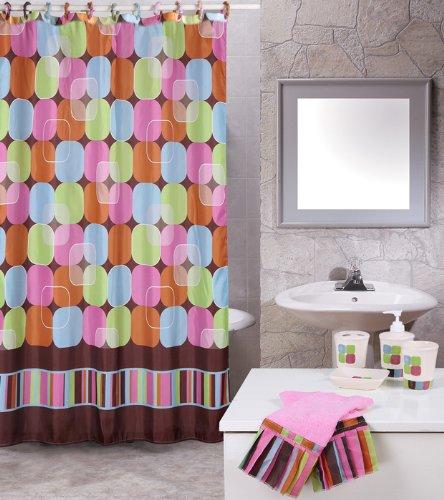 Home Dynamix Total Shower Curtain Bath Set: TB02 Metro Lights Pink: 19 Piece Shower Curtain Bath Set