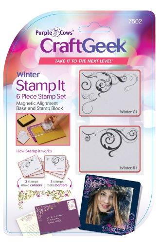 Purple Cows 7502 Craftgeek Stamp It 6-Piece Stamp Set, Winter Theme, Purple