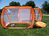 Two 6x4 Ft. Orange Pop up Foldable Soccer Goals, Portable W/carry Case, Durable Pass Soccer Goal Pair. Training Aid.