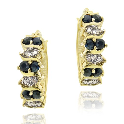 18K Gold over Sterling Silver Sapphire & Diamond Accent Hoop Earrings