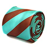 Frederick Thomas chocolate brown and turquoise barber striped tie with signature floral design to the rear
