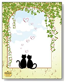 Sweetheart Cats Notebook - A sweet design for the cat lover! Two sweetheart cat silhouettes sitting in an open window draped with ivy create an engaging cover design for this blank and wide ruled notebook with blank pages on the left and lined pages on the right.
