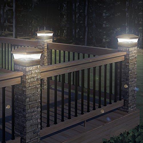 4 x bronze solar powered led outdoor garden post deck cap for Garden decking lights uk