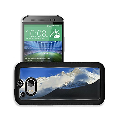 Luxlady Premium HTC One M8 Aluminum Backplate Bumper Snap Case IMAGE ID: 34505926 Mount Machhapuchhare the fish tail in evening clouds Pokhara Nepal
