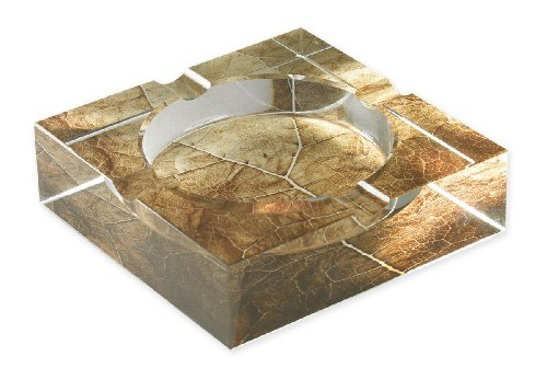 Quality Importers Ashtray 4 Cigar Crystal Ashtray with Tobacco Leaf Art