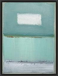 20in x 26in Azure Blue I by Caroline Gold - Black Floater Framed Canvas w/ BRUSHSTROKES