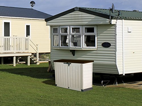 Large 240l plastic outdoor garden storage shed beige - Brown plastic garden sheds ...