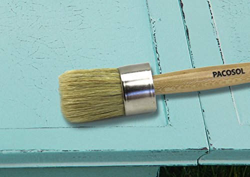 Round Brush,Chalk Paint Waxing Brush. Professional Brush, Pure Bristle, Stainless Steel Ferrule, Varnished Wood Handle with Tread.