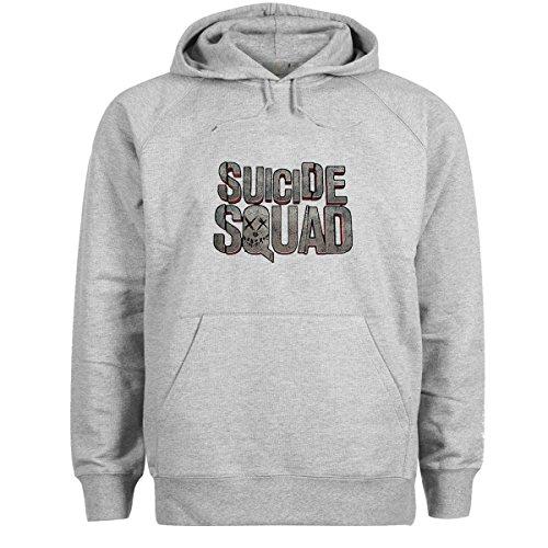 Suicide Squad Logo Grigio Felpa con cappuccio unisex Large