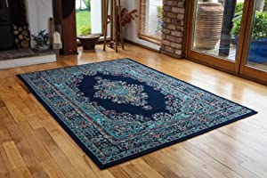 Navy Blue Vintage Style Design Living Room Rug - 4 Sizes Available from The Rug House