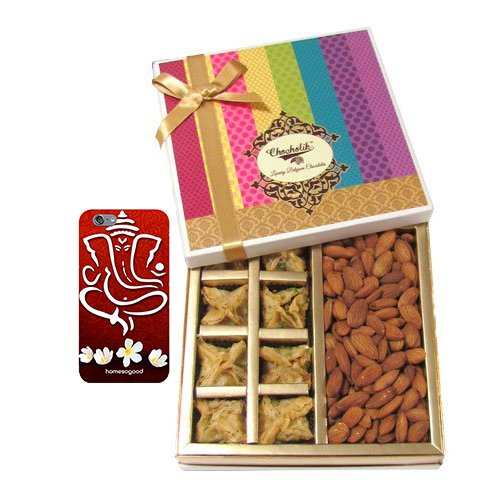 Chocholik Belgium Chocolates - Sinful Treat Of Baklava And Almonds Gift Box With With 3d Mobile Cover For IPhone...