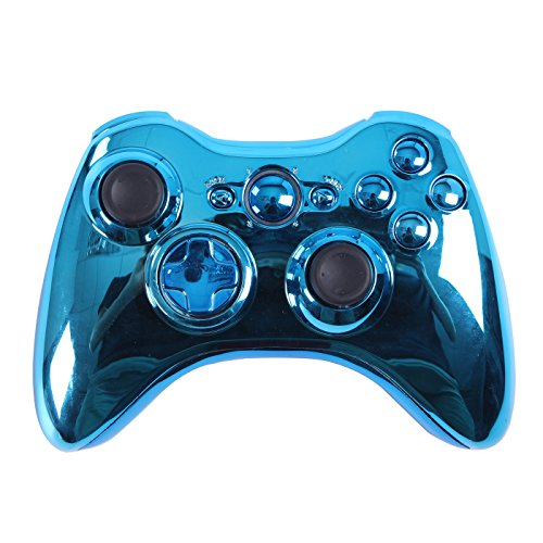HDE Xbox 360 Wireless Controller Shell Buttons Thumbsticks Replacement Case Custom Cover Kit - Chrome Blue (Custom Controller Covers compare prices)