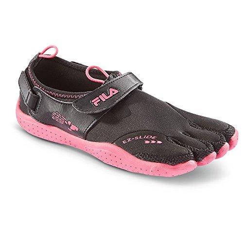 Fila Women's Skele-Toes EZ Slide Water Shoes, BLK/FUCHSIA, 9B