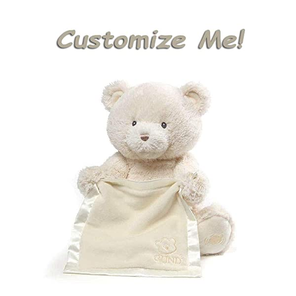 GUND Personalized Peek A Boo Teddy Bear (Plush Custom Stuffed Animal for Baby), Cream (Color: Cream (Customizable))