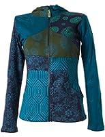 Vishes - Alternative Bekleidung - Kurze, leichte Patchworkjacke aus Baumwolle mit Kapuze