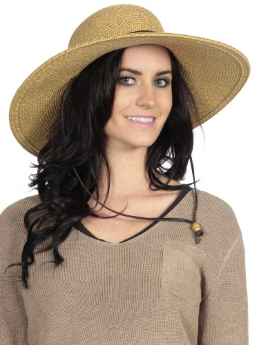 Simplicity  Women s Sun Protecting Straw Hat w  Chin Strap and Large ... 2b27e6d74e1