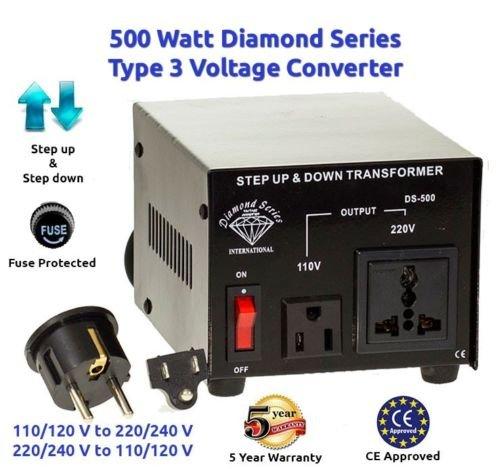 Dynastar Tm 500 Watts Voltage Converter Transformer - Step Up & Step Down 110 120 Volts 220 240 Volt -5 Yr Warranty front-60041