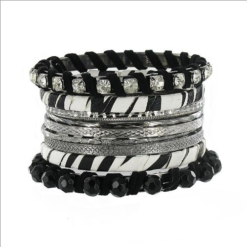 Stackable Zebra Print & Crystal Bracelet #034791
