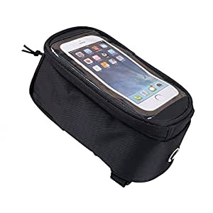 Weanas® Bike Bicycle Handlebar Frame Pannier Front Top Tube Bag Pack Rack X Large Waterproof for Iphone 6 6 Plus Samsung Mobile Phone (Black, For 4.2