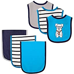 Hudson Baby 6 Piece Bib and Burp Cloth Set, Dog