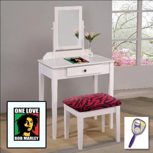 New Bob Marley Themed White Finish Make Up Vanity Set With Adjustable Mirror And Bench With Your Choice Of Seat Cushion Theme! Also Includes Free Hand & Purse Mirror!
