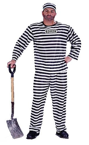 Mens/Womans Adult Jail Striped Halloween Party Costume (One Size)