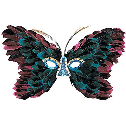 Pink And Blue Feather Butterfly Mask
