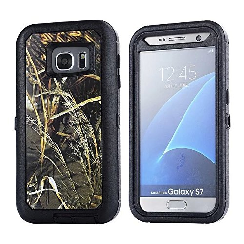 For Samsung Galaxy S7 Case - FiversTM Heavy Duty Case 3 in 1 Three Advantages Waterproof Dustproof Shakeproof with Forest Camouflage Desig Cell Phone Cases for Samsung Galaxy S7 Grass- Black